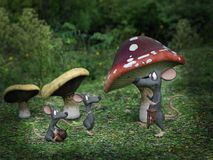 3D rendering of cartoon mice in a fairytale mushroom forest. Stock Image