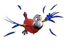 3D rendering of cartoon parrot looking afraid while flying. Royalty Free Stock Photo