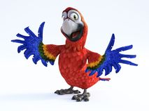 3D rendering of cartoon parrot smiling. Royalty Free Stock Image
