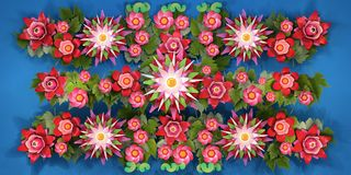 3d rendering of cartoon stylized lotus flowers on water. 3d cartoon stylized lotus flowers on water.  Bright pink blossoms with green foliage  on blue background Royalty Free Stock Image
