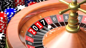3D rendering of casino roulette. With New year 2017 Royalty Free Stock Photo