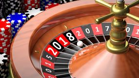 3D rendering casino roulette with New year 2018 Stock Photo