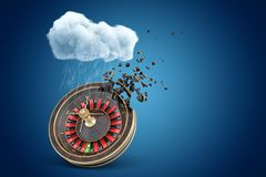 3d rendering of casino wheel dissolving in pieces under white raining cloud on blue copyspace background. Casino betting. Gambling business. Losing money royalty free illustration