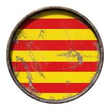 Old Catalonia flag. 3d rendering of a Catalonia flag over a rusty metallic plate. Isolated on white background Royalty Free Stock Photography