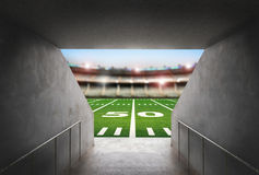 Tunnel in american football stadium stock image