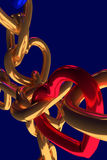 3D rendering of chains of golden hearts Stock Photo