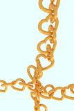 3D rendering of chains of golden hearts Royalty Free Stock Photos
