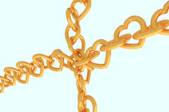3D rendering of chains of golden hearts Royalty Free Stock Images