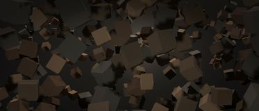 3D Rendering of Chaotically flying cubes in abstract dark space. Low key style Royalty Free Stock Photography