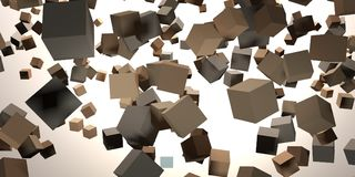 3D Rendering of Chaotically flying cubes in abstract space.  Stock Photo
