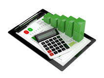 3d rendering of chart growth with calculator and clipboard Royalty Free Stock Photography
