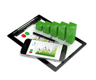 3d rendering of chart growth with mobile phone and clipboard Royalty Free Stock Images