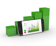 3d rendering of chart growth with mobile phone over white Stock Image