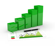 3d rendering of chart growth and pen over white. 3d rendering of chart growth and pen isolated over white background Stock Photography