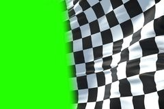 3D rendering, checkered flag, end race background, formula one c. Checkered flag, end race background, formula one competition waving with chroma key green Royalty Free Stock Images