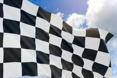 3D rendering of checkered race flag design waving on sky Royalty Free Stock Photography