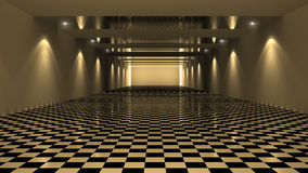 3D Rendering Checkered Room Stock Photo