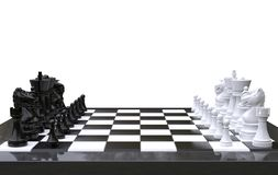 3d rendering Chess on a chess board,isolated white background stock illustration