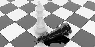3d rendering chess kings on a chessboard Royalty Free Stock Images