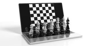 3d rendering chess on laptop screen Royalty Free Stock Images