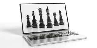 3d rendering chess on laptop screen Stock Photos