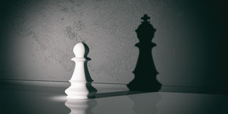 3d rendering chess pawn and king shadow. 3d rendering chess pawn with chess king shadow Royalty Free Stock Images