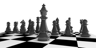 3d rendering chess set on a chessboard Royalty Free Stock Photo