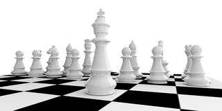 3d rendering chess set on a chessboard Royalty Free Stock Photography