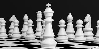 3d rendering chess set on a chessboard Stock Images