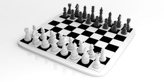 3d rendering chess set on a chessboard Stock Photos