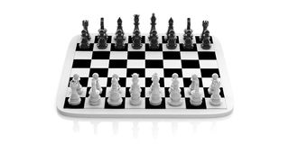 3d rendering chess set on a chessboard Royalty Free Stock Images