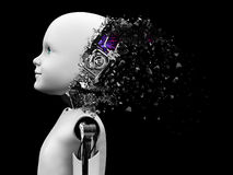 3D rendering of child robot head that shatters. Royalty Free Stock Images