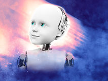 3D rendering of child robot head with space background. Stock Photos