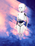 3D rendering of child robot with space background. Royalty Free Stock Photos