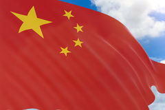 3D rendering of China flag waving on blue sky background Stock Photos
