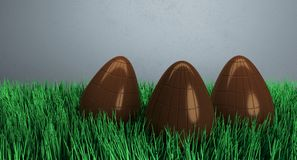 Chocolate Easter Eggs On Green Grass. 3D Rendering Of Chocolate Easter Eggs On Green Grass And Light Background Royalty Free Stock Images