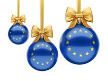3D rendering Christmas ball with the flag of European union. 3D rendering Christmas ball decorated with the flag of European union Stock Images