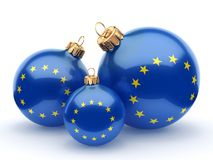 3D rendering Christmas ball with the flag of European union. 3D rendering Christmas ball decorated with the flag of European union Royalty Free Stock Photo