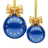 3D rendering Christmas ball with the flag of European union. 3D rendering Christmas ball decorated with the flag of European union Royalty Free Stock Image