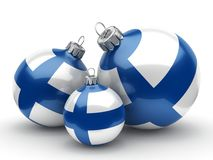 3D rendering Christmas ball with the flag of Finland. 3D rendering Christmas ball decorated with the flag of Finland Royalty Free Stock Photo