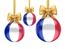 3D rendering Christmas ball with the flag of France. 3D rendering Christmas ball decorated with the flag of France Royalty Free Stock Photos