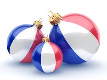 3D rendering Christmas ball with the flag of France. 3D rendering Christmas ball decorated with the flag of France Royalty Free Stock Images