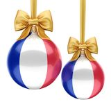 3D rendering Christmas ball with the flag of France. 3D rendering Christmas ball decorated with the flag of France Royalty Free Stock Photo