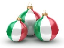 3D rendering Christmas ball with the flag of Italy. 3D rendering Christmas ball decorated with the flag of Italy Royalty Free Stock Photography