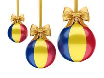 3D rendering Christmas ball with the flag of Romania stock illustration