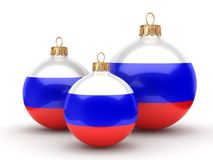 3D rendering Christmas ball with the flag of Russia. 3D rendering Christmas ball decorated with the flag of Russia Royalty Free Stock Photo