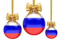 3D rendering Christmas ball with the flag of Russia. 3D rendering Christmas ball decorated with the flag of Russia Stock Photography