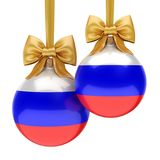 3D rendering Christmas ball with the flag of Russia. 3D rendering Christmas ball decorated with the flag of Russia Royalty Free Stock Photos