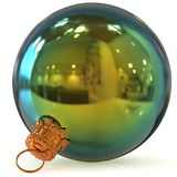 3d rendering Christmas ball decoration green polished closeup Stock Images
