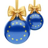 3D rendering Christmas ball with the flag of European union. 3D rendering Christmas ball decorated with the flag of European union Stock Photos